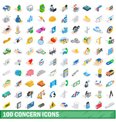 100 concern icons set isometric 3d style vector