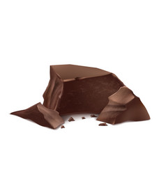 3d realistic brown chocolate pieces vector