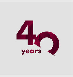 40 year anniversary elegant number template design vector