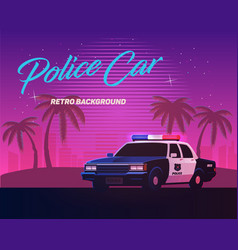 80s retro neon gradient background vintage police vector