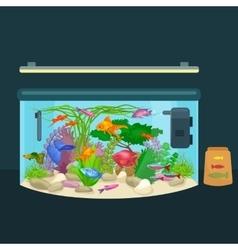 Aquarium fish seaweed underwater tank isolated vector
