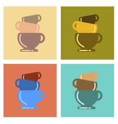 Assembly flat icons coffee three cups vector