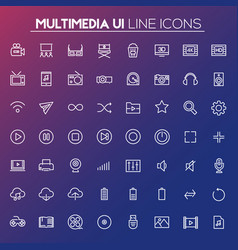 Big multimedia icon set trendy line icons vector