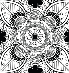 Black And White Lace Endless Seamless Pattern vector image