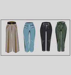 black blue jeans pants khaki classic beige vector image