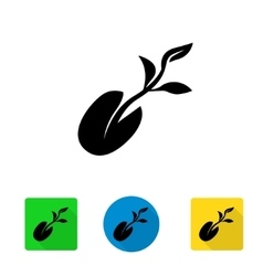 Black starting plant from seed icon vector