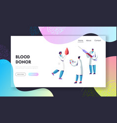 Blood donor bank charity transfusion website vector