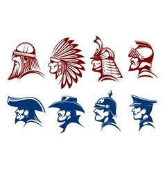 Blue and brown icons of warriors soldiers symbols vector image vector image
