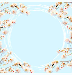 blue background with cherry blossom decoration vector image