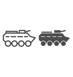 Btr line and glyph icon amphibious vehicle vector