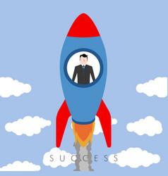 Businessman riding a rocket success business vector