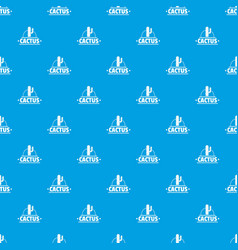 cactus pattern seamless blue vector image