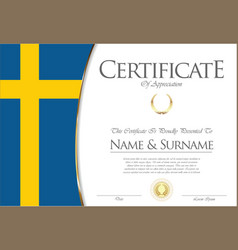 Certificate or diploma sweden flag design vector