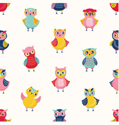 Childish seamless pattern with cute wise owls on vector