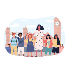 Children on excursion in london vector