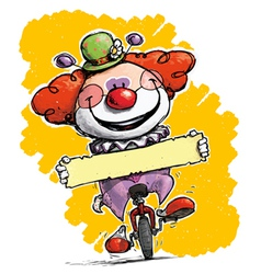 Clown on Unicle Holding a Label vector image
