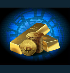 Coins bitcoin and two gold bars on dark background vector