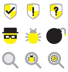 Computer network security flat icon set2 vector
