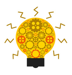 conceptual lightbulb icon with gear pieces vector image