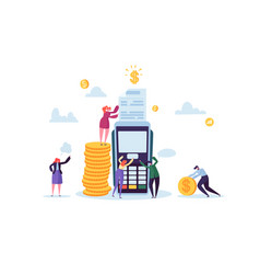 credit card payment by terminal with flat people vector image