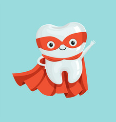 Cute healthy cartoon superhero tooth character vector