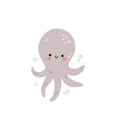 Cute octopus on a white background vector