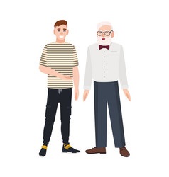 Cute smiling grandfather and grandson standing vector