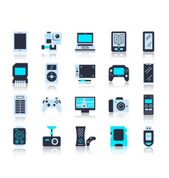 device simple flat color icons set vector image