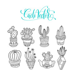 doodle cacti collection black line hand drawing vector image