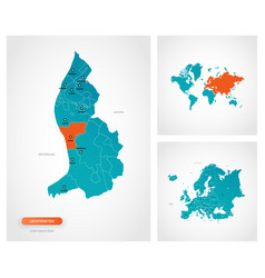 Editable template map liechtenstein vector