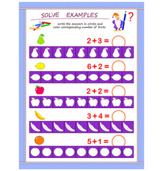 Educational page for children on addition solve vector