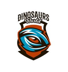emblem badge sticker logo dinosaur eyes vector image