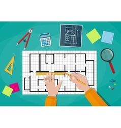 Engineer hands working on blueprint vector image