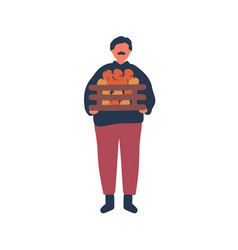 Farmer holding apples crate flat vector