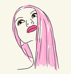 Fashion woman in pink lip and long hair vector image