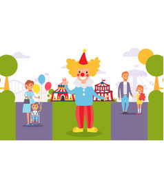 flat people family at city festival clown vector image