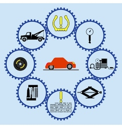 Flat tire flow chart vector image