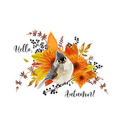 Floral card design hello autumn season colorful vector