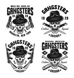 Gangsters emblems with skull in hat vector