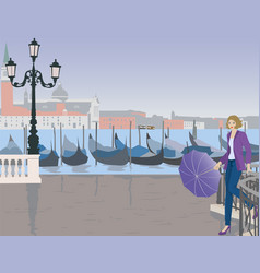 Girl with umbrella in venice vector
