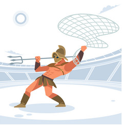 Gladiator in arena with a grid and a trident vector