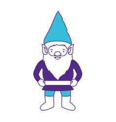 gnome with costume on color sections silhouette vector image