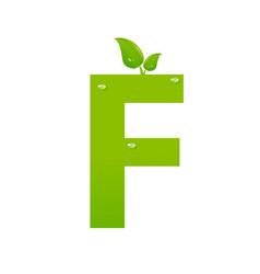 green eco letter f illiustration vector image