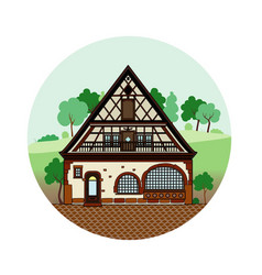 Half-timbere house vector