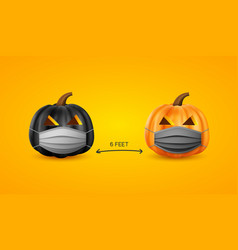 Halloween social distancing concept vector