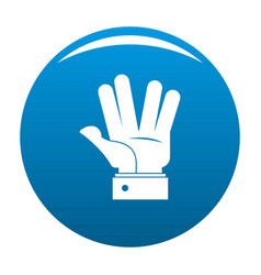Hand hello icon blue vector