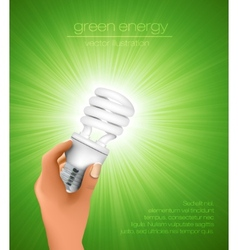 hand holding energy saving light bulb vector image