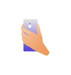 hand holding smartphone with camera on back side vector image
