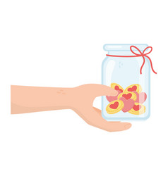 Hand with jar glass hearts love charity and vector
