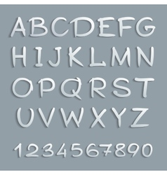 Handwritten alphabet with shadows and numbers vector